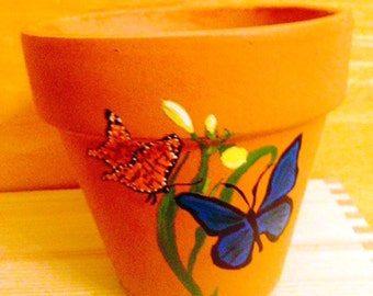 Butterflies Pollinating a Flower Hand Painted on 4.5 Inch Terra Cotta Red Clay Flower Pot Made to Order