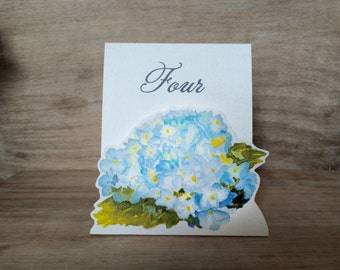 Table Number Tents- Soft Blue Hydrangea - Decoration for Events, Weddings, Showers, Parties