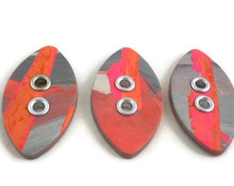 Orange and gray sewing buttons large with grommets beautiful focal for knitter