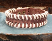 Vintage Brown Woven Leather Cuff Bracelet 005A Boho Inspired Look