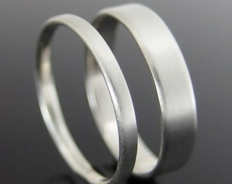 Flat Profile Sterling Silver Wedding Ring Set, Silver Wedding Band Set, 4 x 1 mm and 2 x 1 mm, Satin Finish