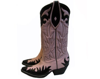 Rockabilly Cowboy Boots Vintage Rancho Loco Womens Baby Pink and Black Leather Cowgirl Western Boots Fits Wms US Size 5 Handmade in Mexico