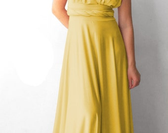 Convertible/Infinity Dress yellow color  floor length with long straps Multiway Dress