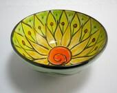 Medium Ceramic Serving Bowl - Pottery Clay Bowl -  Majolica Pottery - Kitchen Bowl - Orange Yellow Lotus Flower - Mandala - Gift for her