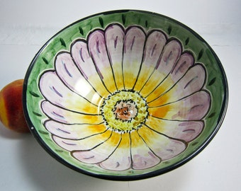 Ceramic Serving Bowl - Pottery Bowl - Zinnia Flower - Medium Serving Bowl - Majolica -  Lavender Purple Orange on Green Gift for Her Mother
