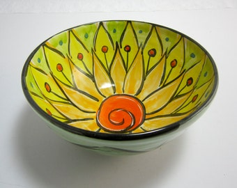 Medium Ceramic Serving Bowl - Pottery Clay Bowl -  Majolica Pottery - Kitchen Bowl - Orange Yellow Lotus Flower - Mandala - Gift for her