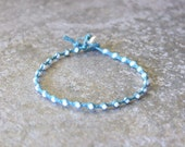 Teal Green and White Single Wrap Bracelet Perfect Beach Jewelry