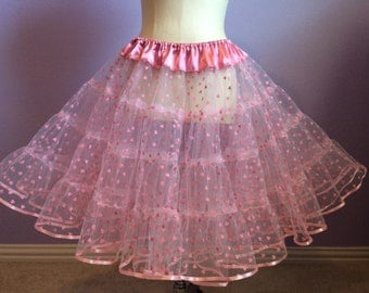Pink petticoat with flocked pink heart over lay 2 LAYERS vintage style pink petticoat