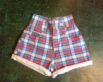 Vintage 90s super high rise plaid denim shorts size 5 // ultra hi waist waisted cut offs jorts // made in the USA // grunge prep retro