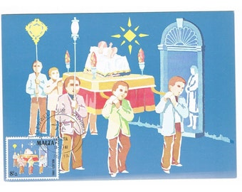 Vintage Maxicard of Malta - First Day of Issue Stamp 1981 - Christmas Procession
