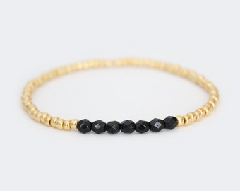 Jet Black and Gold Beaded Bracelet - Navi
