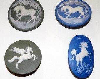 Jasperware studio buttons - Unicorns and Pegasus