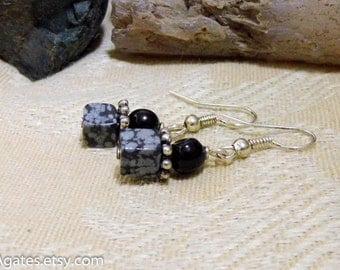 Snowflake Obsidian with Black Agate Silver Dangle Earrings