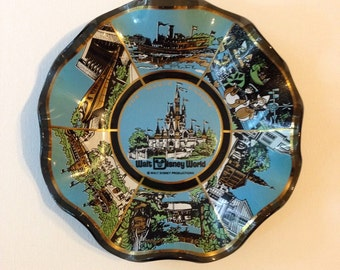 Vintage Walt Disney World Souvenier Ashtray - The Magic Kingdom - aqua and gold - Disneyana - disney collectible