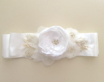 White Bridal Sash, Hand Beaded, bridal sash, handmade Wedding | Ready to ship