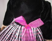 Velvet and tafetta party dress will fit your American Girl size doll
