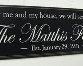 As for me and my house, Joshua 24, Personalized Family Name Sign Plaque  Carved sign