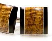 Wood Cufflinks - Highly Figured Hawaiian Koa Ebony Holly - Wooden Cuff Links - Gift for Wedding, Groom, Anniversary, Fathers Day, Graduation