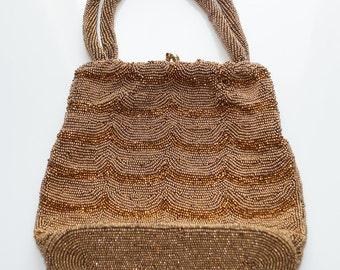 Vintage 1950s Seed Bead Purse / Beaded Bronze Evening Bag Hand Made in Belgium