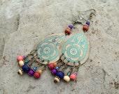 Bohemian Hippie Pressed Flower Earrings, Junk Gypsy Earrings, Patina Stamped Metal Teardrops beaded with colorful dangles