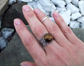 SALE - Tiger's Eye cabochon Ring in Antiqued Silver tone - Adjustable filigree Ring, Tiger Eye Gypsy Ring