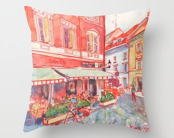 Coffee in Bratislava Watercolor Painting Throw Pillow Cover