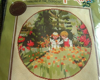 Needlepoint Kit Friends in the Meadow, Two Children in Nature, 16 x 16 Inches, Unopened