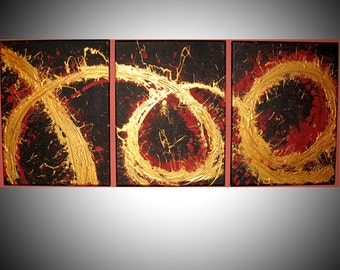 triptych large wall art contemporary painting canvas art office home oil landscape acrylic original painting hand made 3 panel texture