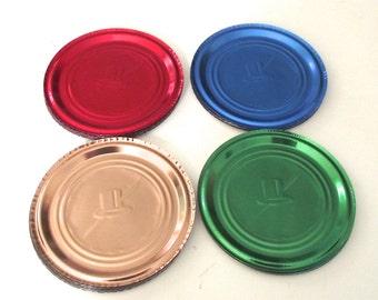 Colored Foil Coasters, 40 Vintage Disposable Silva Coasters in 4 Vibrant Colors