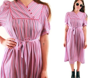 CALISTA 70s Sweet Purple Striped Retro Classic Working Girl Tie Belt Boho Chic Glam Midi Day Dress Small Medium S M