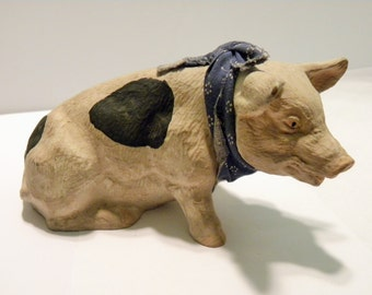 Pig Figurine Statue Sculpture Swine, Pig with Scarf 1980's signed, Realistic Animal Sculpture