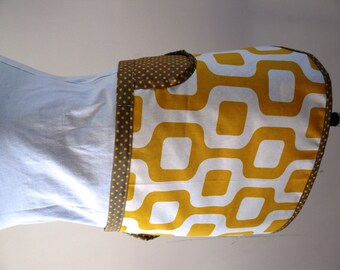 Clothespin bag - Peg bag apron style - retro mustard yellow and white