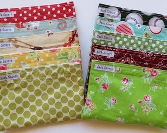 Reusable Snack Bags Any Three Bags You Choose Fabric
