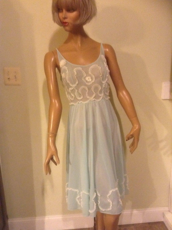 Vintage 1960 S Baby Doll Nightie Nightgrown Lingerie Sz
