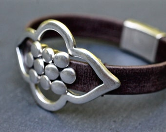 Leather Bracelet , Moroccan Bracelet , Boho Bracelet , Large Bracelet , Silver Bracelet , Silver Bangle ,  Statement Bracelet ,  Amy Fine