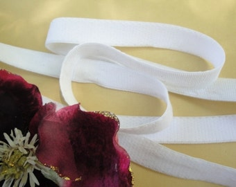 "3 yards 1/2"" wide plush back white ribbed lingerie ealstic for lingerie and headbands ST"