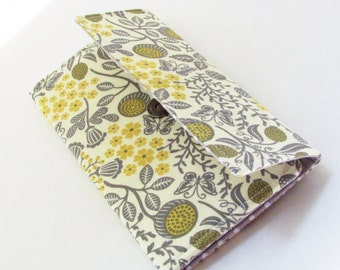 Butterfly floral grey and yellow wallet
