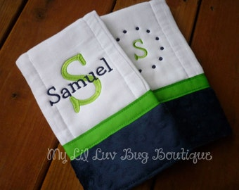 Personalized Burp cloths - set of two prefold diaper-  navy blue and lime green