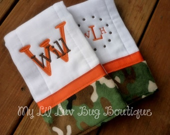 Personalized  burp cloth set- orange with green and brown camoflage- baby prefold diaper
