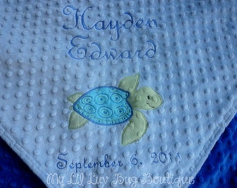 Personalized minky baby blanket- sea turtle light blue and cobalt- stroller blanket- with name baby blanket