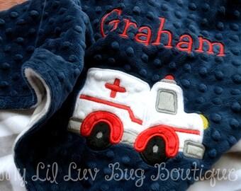 Personalized baby blanket- baby boy navy blue grey and white chevron ambulance- 30x35 stroller blanket
