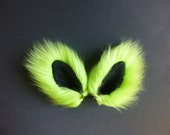 Mini-sized Neon Green and Black Faux Fur Ears Costume Cosplay Cat Fox Wolf Dog Hair Clips