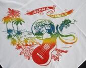 "Vintage Aloha Hawaii Sheer Woven Chiffon 28"" Square Scarf - Early 1960's Hawaiian Souvenir"
