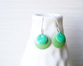 Green Enamel Earrings - Modern Jewelry, Mint, Teal, Silver Hoops, Contemporary, Geometric, Fresh, Simple