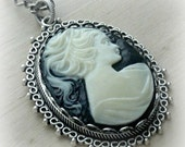 Victorian Jewelry Necklace Cameo Necklace Large Cameo Pendant Personalized Victorian Cameo Large Pendant Cameo Jewelry Gift for Mom