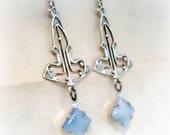 Art Deco Earrings Art Deco Jewelry Blue Moonstone Earrings Silver Earrings Deco Style Earrings Blue Moonstone Jewelry Romantic Gifts
