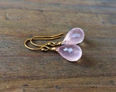 Rose Quartz Petite Earrings. Gold / Rose gold / Silver