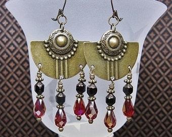 Southwest Style Cowgirl Earrings / Antique Brass Earrings / Gypsy Cowgirl Statement Earrings - BRaSs & ReD SouTHweST DaNGLeS
