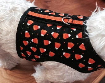 Candy Corn Halloween Small Dog Harness Made in USA, Dog Costume, dog harnesses, pet clothing