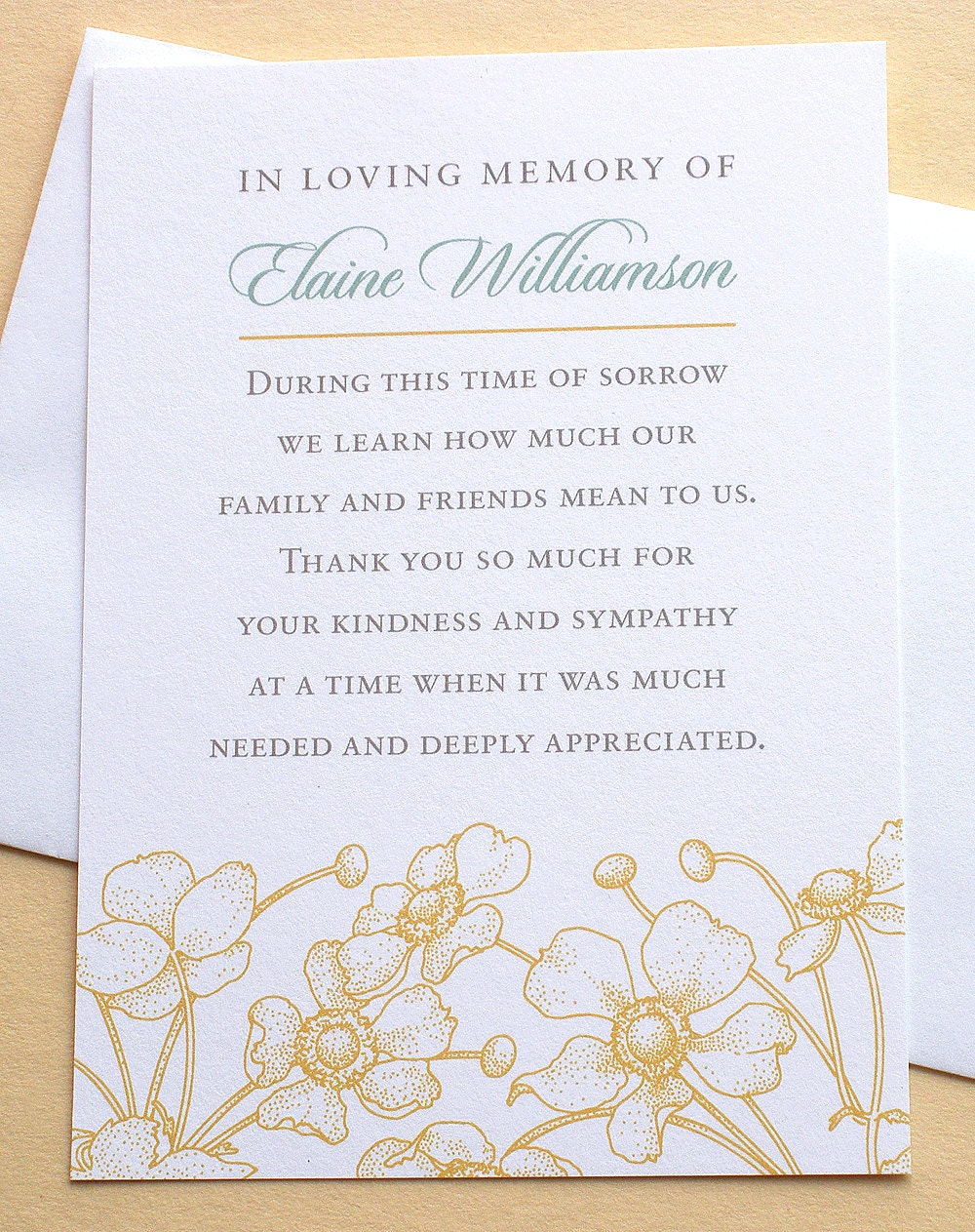 sympathy thank you cards with yellow flowers flat cards